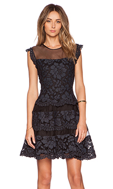 Alexis Filips Lace Organza Dress in Navy