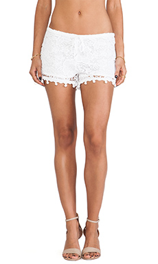 Alexis Debi Pom Pom Crochet Shorts in White Crochet