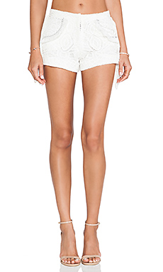 Alexis Brixia Fringe Detail Shorts in White Lace