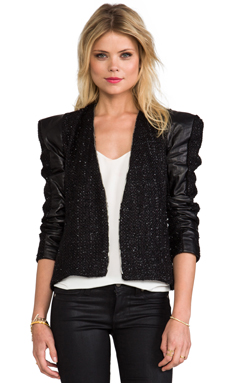 Alexis Tomy Structured Jacket With Leather Panels in Metallic Black
