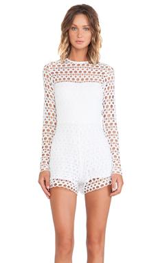 Alexis Onasis Crochet Romper in Ecliptic White