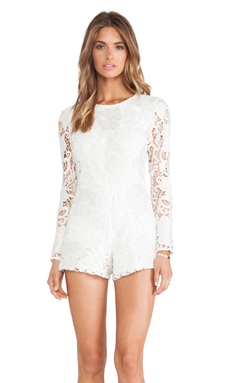 Alexis Izu Lace Romper in White Embroidered Lace