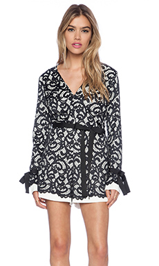 Alexis Aine Long Sleeve Romper in Black White