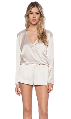 Alexis Aine Long Sleeve Romper in Beige