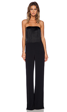 Alexis Vite Strapless Fringed Jumpsuit in Black
