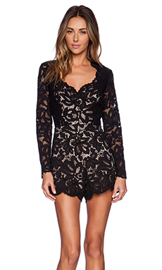 Alexis Manolo Lace Romper in Black