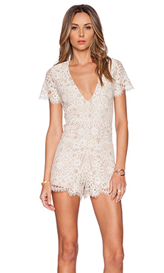 Alexis Alain Lace Romper in Fawn