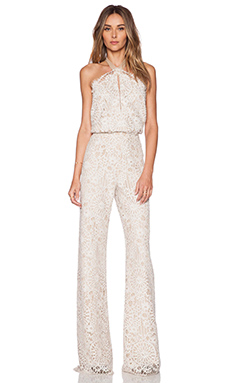 Alexis Amadora Lace Halter Jumpsuit in Fawn