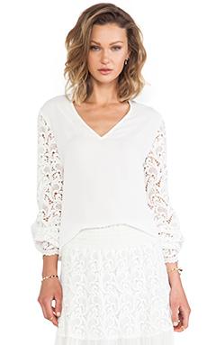 Alexis Dunn V Neck Crocheted Sleeve Top in White Crochet