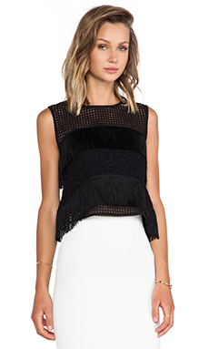 Alexis Bilbao Fringe Detail Crop Top in Black