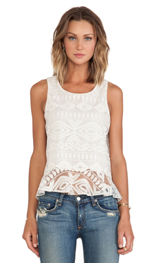 Alexis Santorini Ruffled Lace Tank in Sandy Abstract