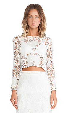 Alexis Laiden Lace Crop Top in White Embroidered Lace