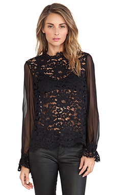 Alexis Emma Lace Blouse in Black Lace