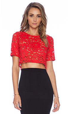 Alexis X REVOLVE Lisette Lace Crop Top in Red