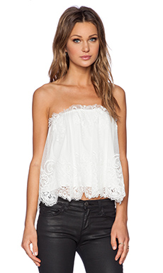 Alexis Zegar Strapless Lace Top in White