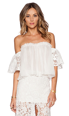 Alexis Giacomo Floral Organza Top in White