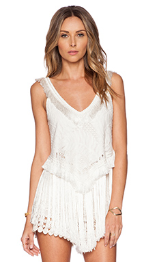 Alexis Baily Fringe Lace Top in Off White