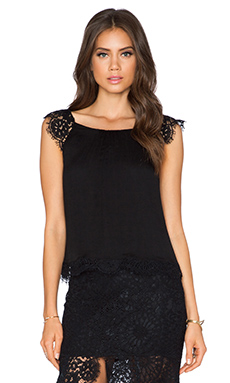 Alexis Pip Lace Top in Black