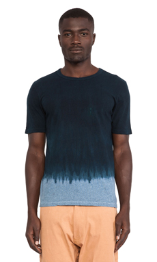 AXS Folk Technology Double Dye Crew Tee in Deep Blue