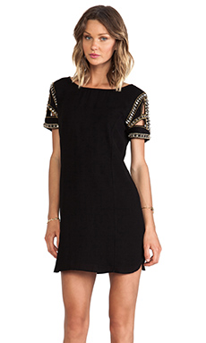 ba&sh Calpton Embellished Sleeve Dress in Noir