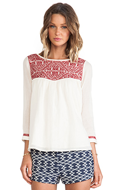 ba&sh Chelmsford Embroidery Detailed Top in Bordeaux