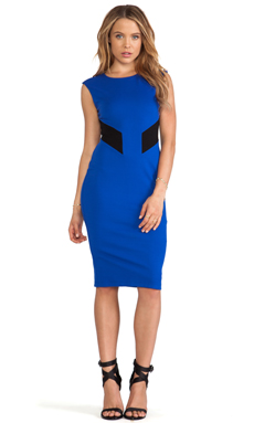 Bailey 44 Biotech Color Block Cut Out Body Con Dress in Blue/Black