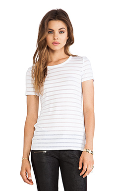 Bailey 44 Core Sheer Striped Top in White