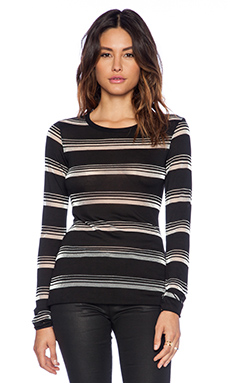 Bailey 44 Sheer Stripe Crew Neck in Black
