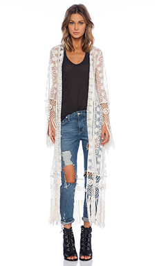 Band of Gypsies Lace Fringe Kimono in Ivory