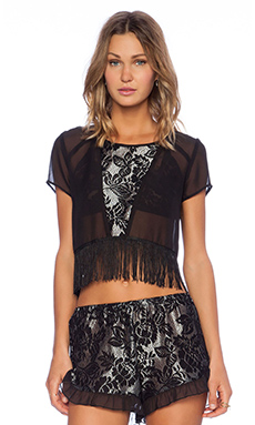 Band of Gypsies Lace Fringe Top in Black & Silver