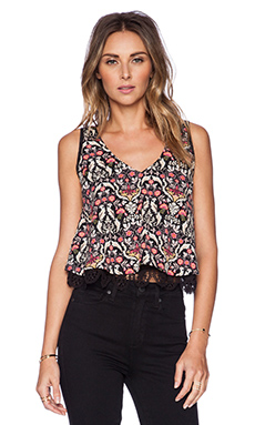 Band of Gypsies Patterned Crop Top in Blk Taupe