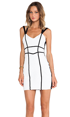 Bardot Bound Panel Dress in White