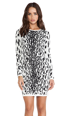 Bardot Snow Leopard Dress in Black/White