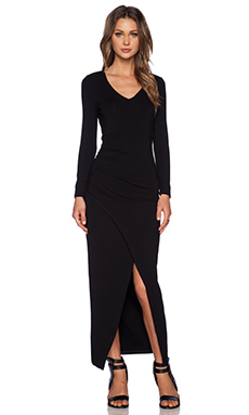 Bardot Front Slit Maxi Dress in Black