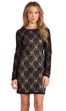 Bardot Open Back Lace Dress in Black