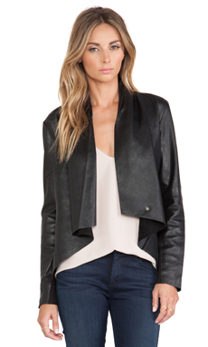 Bardot Drape Front Leather Jacket in Blak