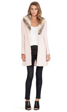 Bardot Veronika Fur Coat in Blush