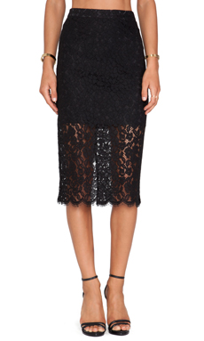 Bardot Sienna Lace Midi Skirt in Black
