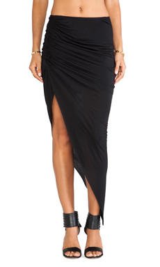Bardot Asymmetrical Gathered Skirt in Black