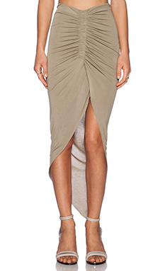 Bardot Asymmetrical Gathered Skirt in Khaki