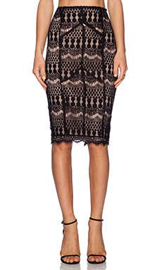 Bardot Lace Midi Skirt in Black
