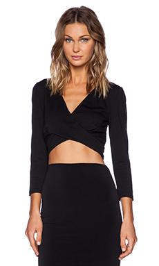 Bardot Criss Cross Crop Top in Black