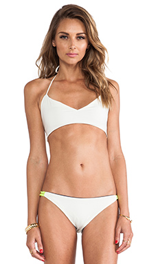 Basta Surf Zunzal Bungee Bikini Top in Ivory & Deep Navy & Neon Yellow