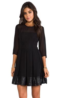BB Dakota India Chiffon and Mesh Long Sleeve Dress in Black