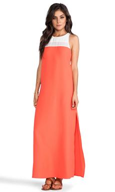 BB Dakota Sola Color Block Maxi Dress in Dirty White & Sevilla Orange
