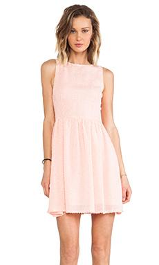 BB Dakota Lola Feathered Chiffon Dress in Peach
