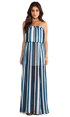 BB Dakota Quant Stripe Maxi Dress in Baltic Blue