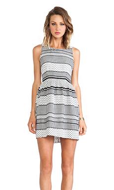 Jack By BB Dakota Lola Striped Foulard Dress in Black & White