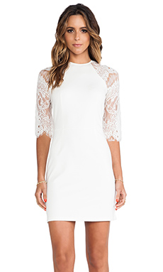 BB Dakota Princeton Ponte Dress w/ Lace Sleeves in Ivory