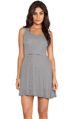 Jack by BB Dakota Lais Striped Mini Dress in Black & Ivory